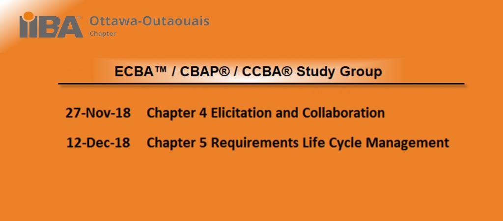 ECBA™ / CCBA® / CBAP® Study Group Sessions Fall 2018