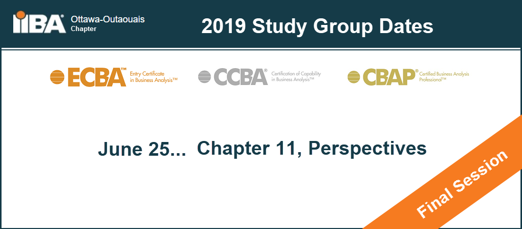 ECBA™ / CCBA® / CBAP® Study Group Dates - Winter/Spring 2019